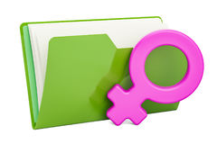 Computer folder icon with female gender symbol, 3D rendering Royalty Free Stock Photography