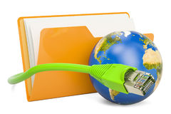 Computer folder icon with lan internet cable, 3D rendering. Isolated on white background Stock Photo