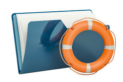 Computer folder icon with lifebuoy, 3D rendering. Isolated on white background Royalty Free Stock Image