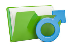 Computer folder icon with male gender symbol, 3D rendering Stock Images