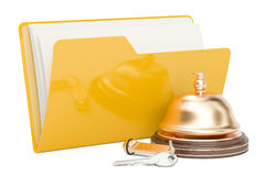 Computer folder icon with reception bell, 3D rendering. On white background Stock Photos