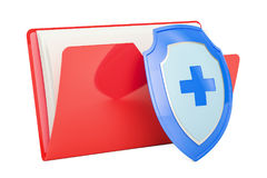 Computer folder icon with shield, 3D rendering. Isolated on white background Stock Images