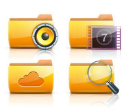 Computer folder icons. Vector illustration of four yellow interface computer folder icons Stock Photography