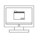 computer with folder ,  illustration Royalty Free Stock Images