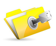 Computer folder with key Stock Images