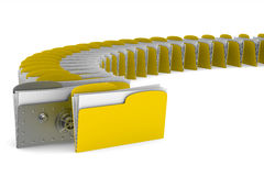 Computer folder with lock on white background.  3d Stock Photo