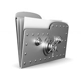 Computer folder with lock on white background.  3d Royalty Free Stock Photography