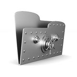 Computer folder with lock on white background.  3d Royalty Free Stock Image