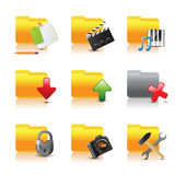 Computer folders. 9 highly detailed computer folders icons Royalty Free Stock Image