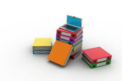 Computer and folders for documents. In white color background Royalty Free Stock Photo