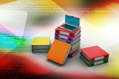 Computer and folders for documents. In color background Stock Photo