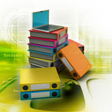Computer and folders for documents. In colorful background Royalty Free Stock Image