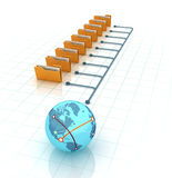 Computer Folders with Documents Sharing Data from Globe World Stock Images