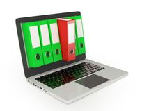 Computer with folders Stock Photography
