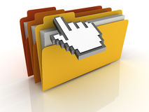 Computer Folders with Mouse Coursor Royalty Free Stock Photos