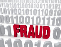 Computer Fraud. A large, red FRAUD stands out in a field of binary 1s and 0s. Shallow DOF with focus on FRAUD royalty free illustration