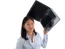 Computer Frustration. Woman frustrated by her laptop computer prepares to throw it Royalty Free Stock Photography