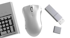 Computer Gadgets. Silver Mouse, Keyboard and Memory stick Stock Photography