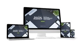 computer gadgets with digital agency website on screen Stock Images