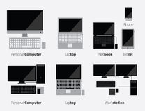 Computer and Gadgets Icon Set in Flat Design Stock Photo