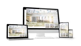 Free Computer Gadgets With Interior Design Website Space On Screen Stock Images - 137424244