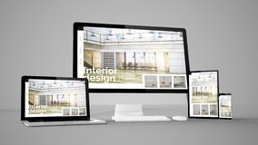 Free Computer Gadgets With Interior Design Website Space On Screen Stock Photography - 137424262