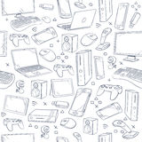 Computer game, device, social gaming vector sketch doodles seamless pattern. Doodle sketch joystick and gaming console, illustration of sketch background with Stock Photos