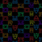 Computer game graphic seamless pattern on a black background Royalty Free Stock Photo