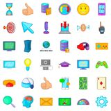 Computer game icons set, cartoon style. Computer game icons set. Cartoon style of 36 computer game vector icons for web isolated on white background Royalty Free Stock Images