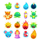 Computer Game Icons Set. Computer Game Icons Collection colourful characters set Stock Photo