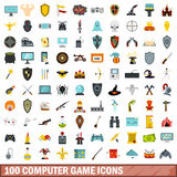 100 computer game icons set, flat style Stock Photos