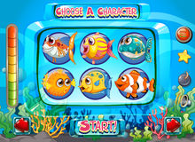 Computer game template with fish as characters. Illustration Royalty Free Stock Photo
