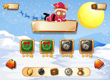Computer game template with snow and reindeer. Illustration Royalty Free Stock Photography