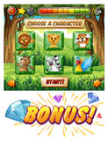 Computer game template with wildlife characters. Illustration Stock Photos