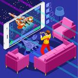 Computer Game Video Gaming Isometric Person Vector Illustration Stock Image
