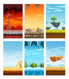 Computer Games Colorful Elements Cartoon Set. Electronic computer video games 6 beautiful screen display fantastic landscapes elements set colorful cartoon Royalty Free Stock Image