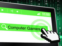 Computer Games Indicates World Wide Web And Entertaining Stock Photography