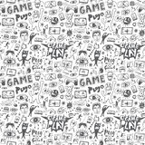 Computer games seamless background. Computer games seamless pattern with icons in sketch style Royalty Free Stock Photo