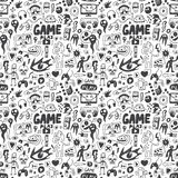 Computer games seamless background. Video games seamless pattern with icons in sketch style Stock Photos
