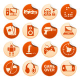 Computer games stickers. Set of computer games stickers Royalty Free Stock Image