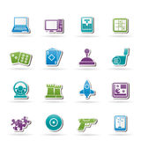 Computer Games tools and Icons. Vector icon set Royalty Free Stock Photos