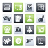 Computer Games tools and Icons over color background. Vector icon set royalty free illustration