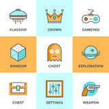Computer gaming line icons set. Line icons set with flat design elements of video game, computer gaming, gamepad console, play shooter videogame, indie Royalty Free Stock Photos
