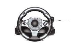 Computer gaming steering wheel. Game played on the computer Stock Photo
