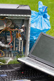 Computer Garbage on grass stock photo