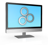 Computer with gears. One computer with three gears, concept of data processing (3d render Royalty Free Stock Photo