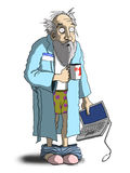 Computer geek. Cartoon style illustration of an old man caught with his pants down and his laptop Stock Image