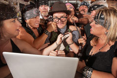 Computer Geek with Biker Gang Stock Images