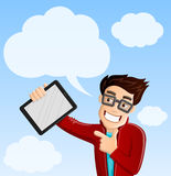 Computer Geek 5 - Cloud Computing, Pointing at Tablet PC. Computer Geek 5 - Cloud Computing concept, Pointing at Tablet PC, with more clouds in the background stock illustration