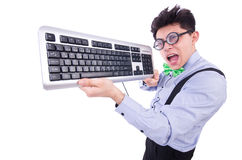 Computer geek nerd Stock Photo